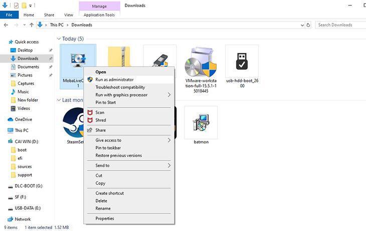 Click chuột phải vào MobaLiveCD > Chọn Run as Administrator