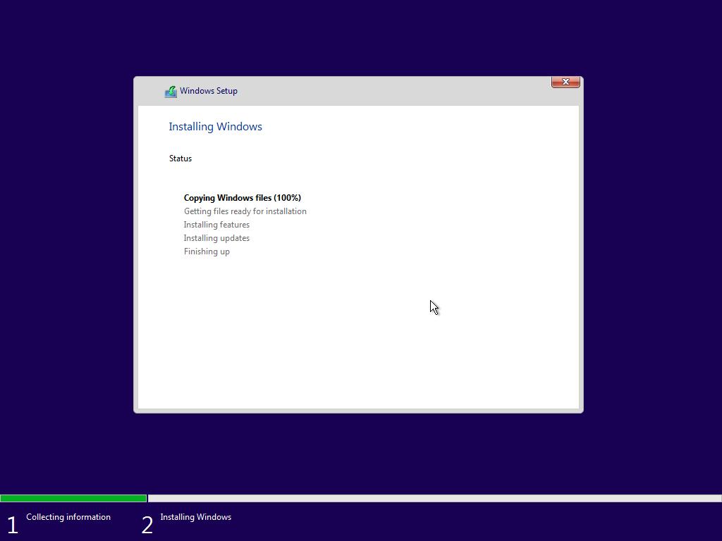 Quá trình cài đặt Windows 10 đang diễn ra