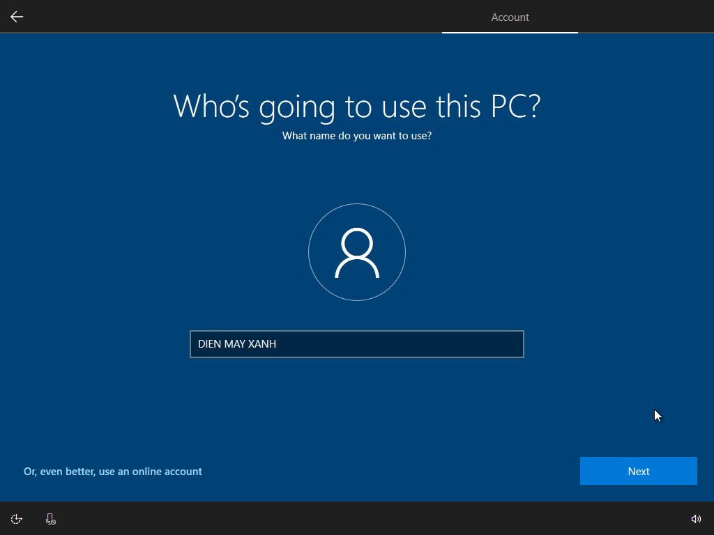 Nhập vào mật khẩu máy tính