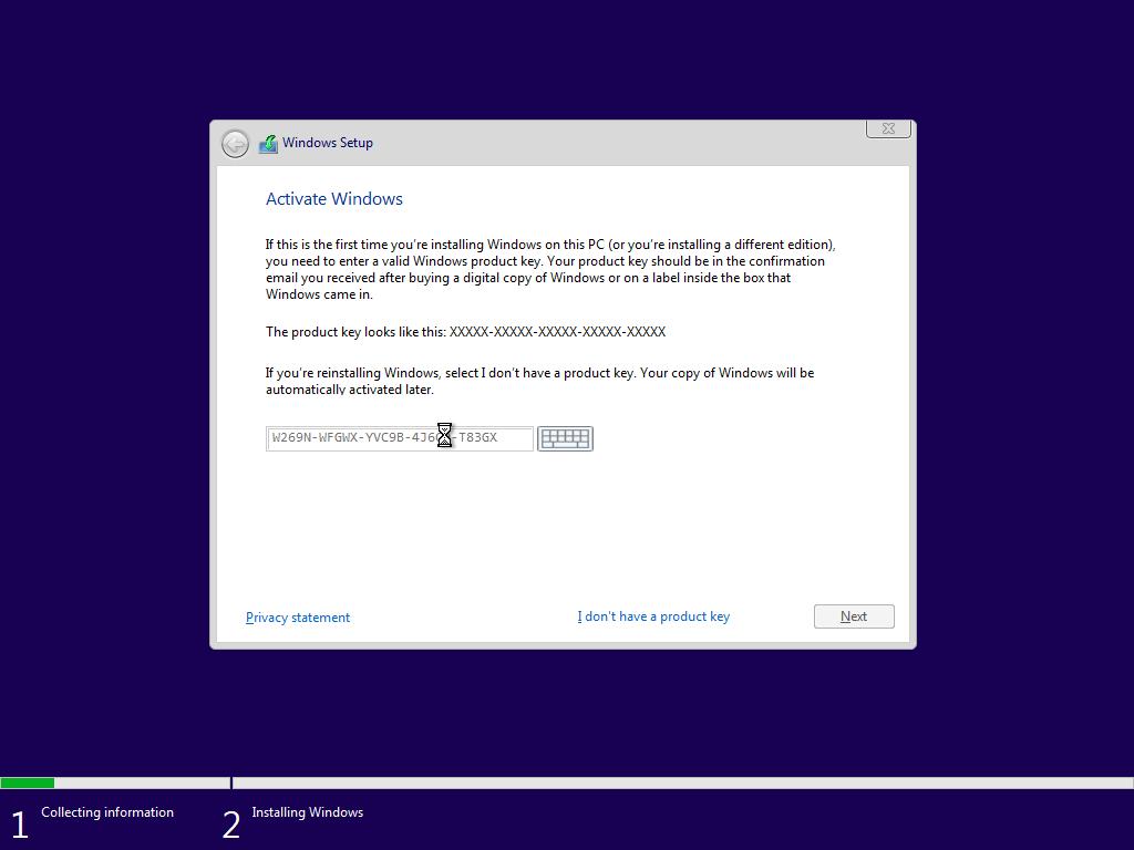 Nhập vào key cài đặt Windows 10