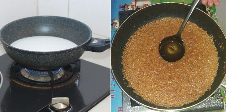 Đun nước cốt dừa trên chảo đến khi sánh lại