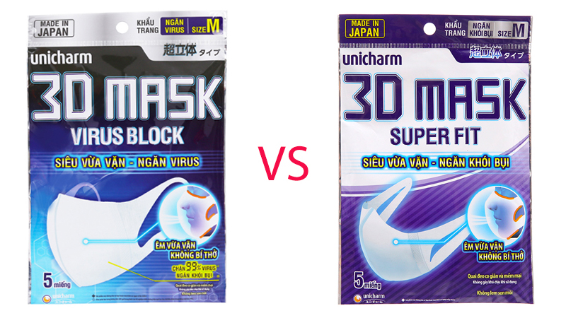Khẩu trang Unicharm Virus Block và Supper Fit khác nhau thế nào?