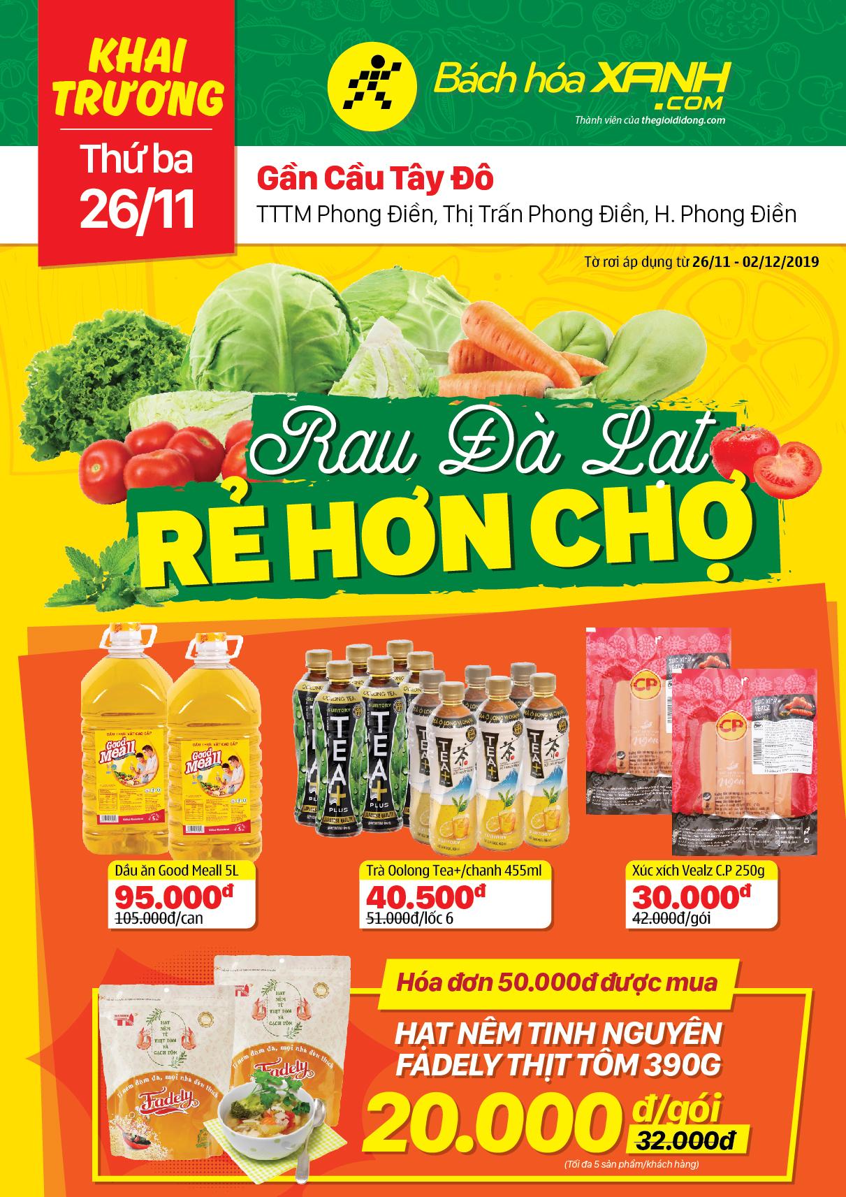 Cửa hàng Bách hoá XANH TTTM Phong Điền, Cần Thơ khai trương 26/11/2019