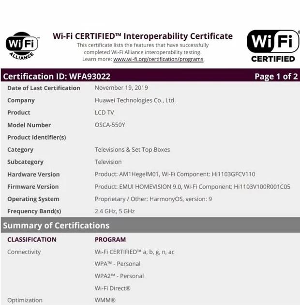 TV thông minh Huawei được Liên minh WiFi chứng nhận