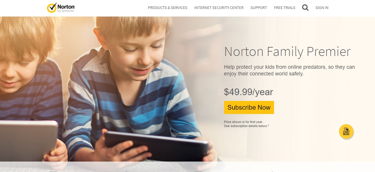 Giao diện web của Norton Family Premier