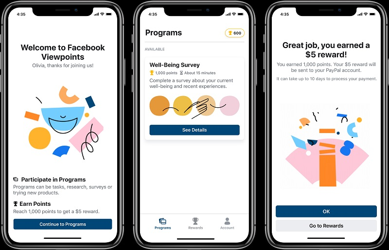 Facebook chính thức ra mắt ứng dụng Facebook Viewpoints, trả tiền cho người dùng khi làm khảo sát
