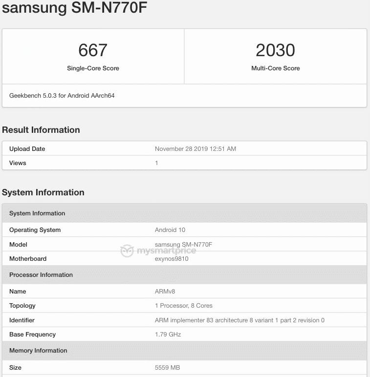 Galaxy Note 10 Lite lộ cấu hình và điểm hiệu năng trên Geekbench