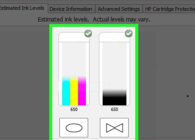 nhấp vào Dell Ink levels để kiểm tra mức mực