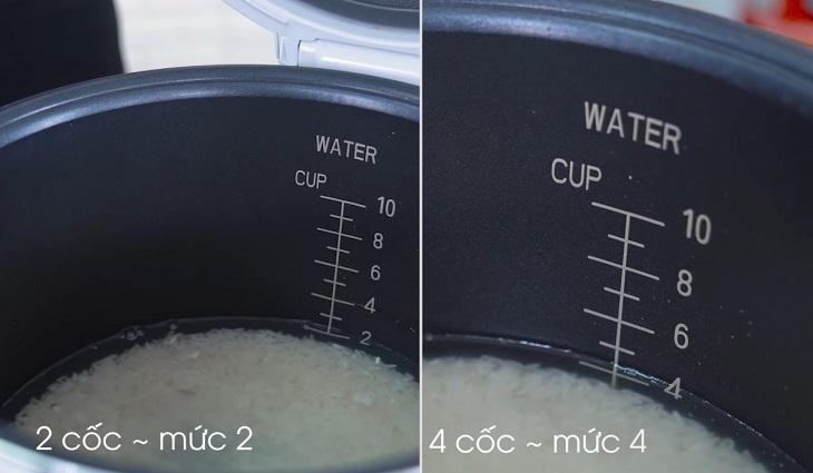 Số cốc và lương nước đong gạo tương ứng