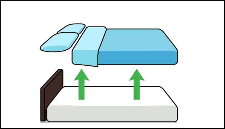 Bỏ gối, chăn và đồ trang trí ra khỏi giường
