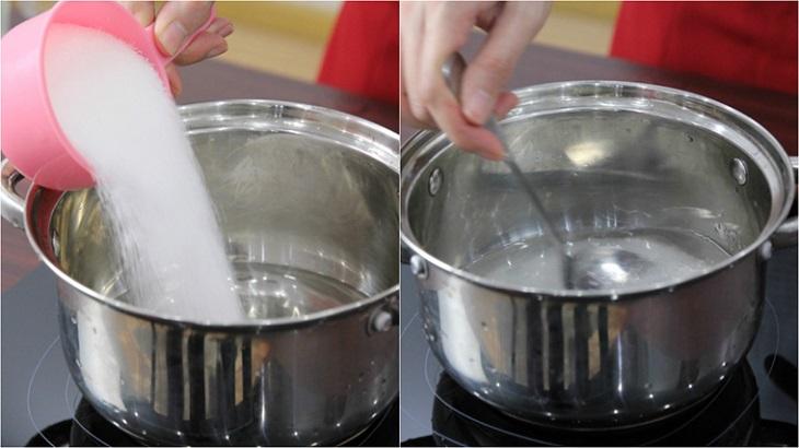 Bước 2 Làm nước đường Chè khúc bạch dùng gelatin