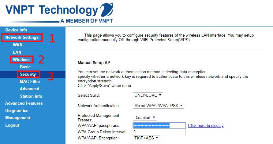 Nhấn vào mục Network Settings > Wireless > Security.