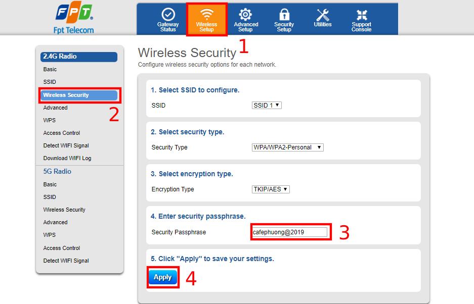 Cách thay đổi mật khẩu wifi FPT