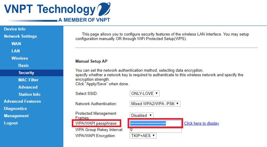 Đổi Password bằng cách nhập mật khẩu mới vào ô WPA / WAPI passphrase.