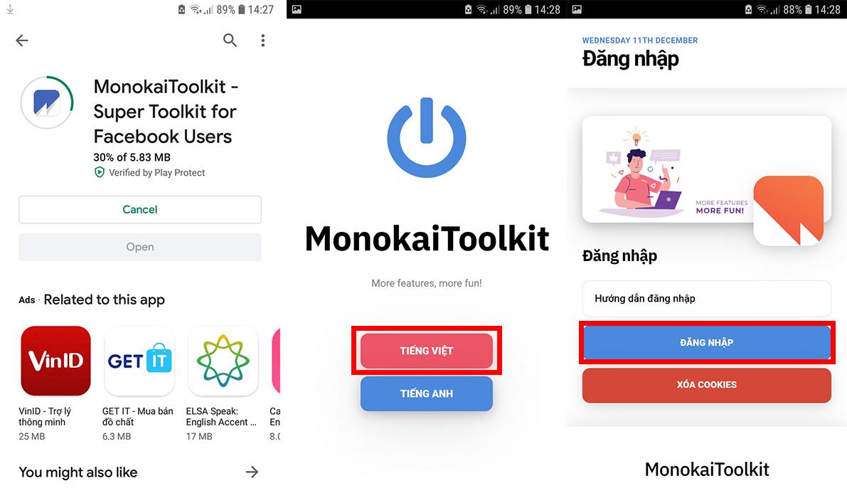 Tải MonokaiToolkit và tiến hành đăng nhập