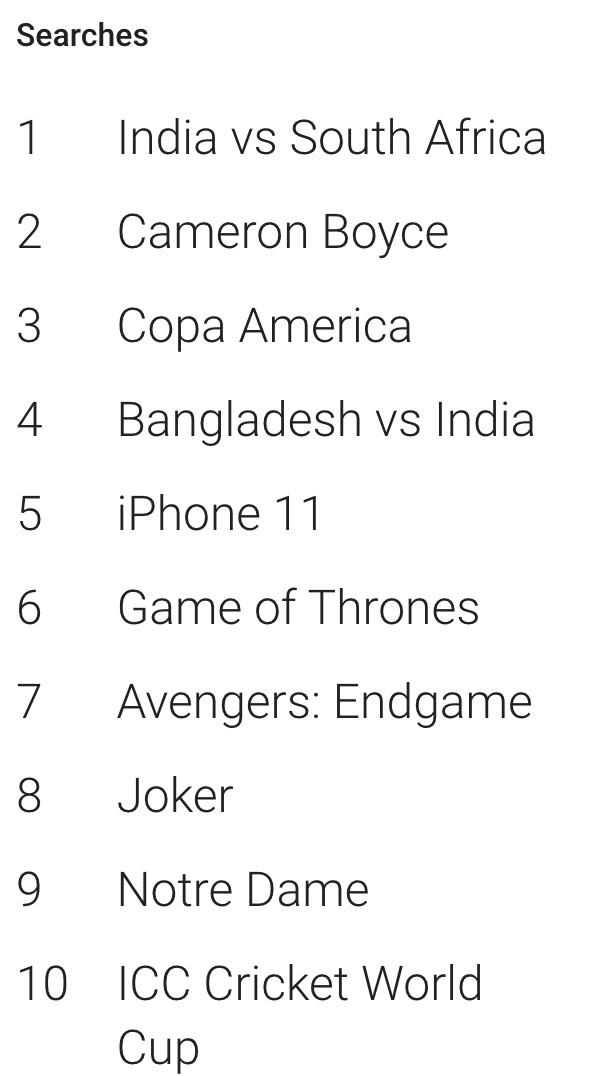 Top 10 từ khóa được tìm kiếm nhiều nhất trên Google trong năm 2019