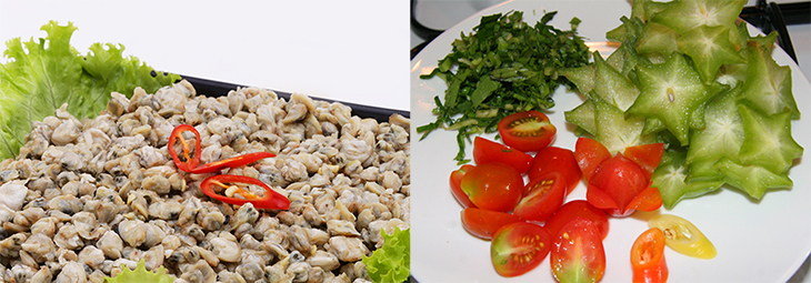 Bước 1 Sơ chế nguyên liệu Canh hến nấu chua