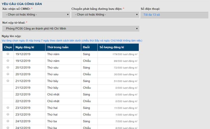 chọn thời gian lên Phòng PC06 Công an thành phố Hồ Chí Minh
