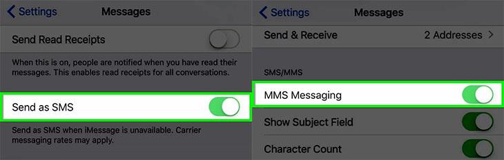 Bật SMS và MMS