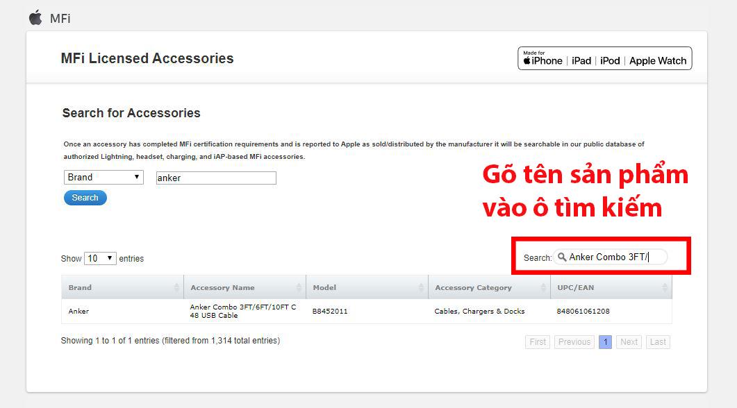 Gõ tên sản phẩm vào ô tìm kiếm và trang web sẽ tự lọc