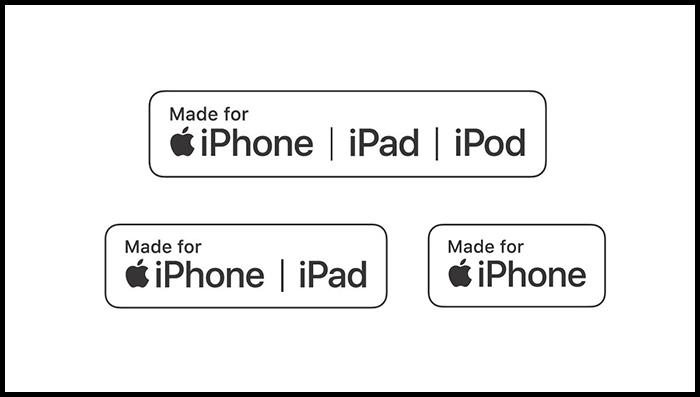Logo chứng chỉ MFi trên các sản phẩm phụ kiện