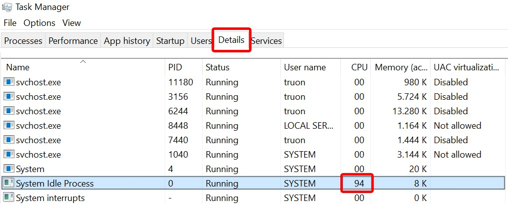 System Idle Process trong mục Details của Task Manager