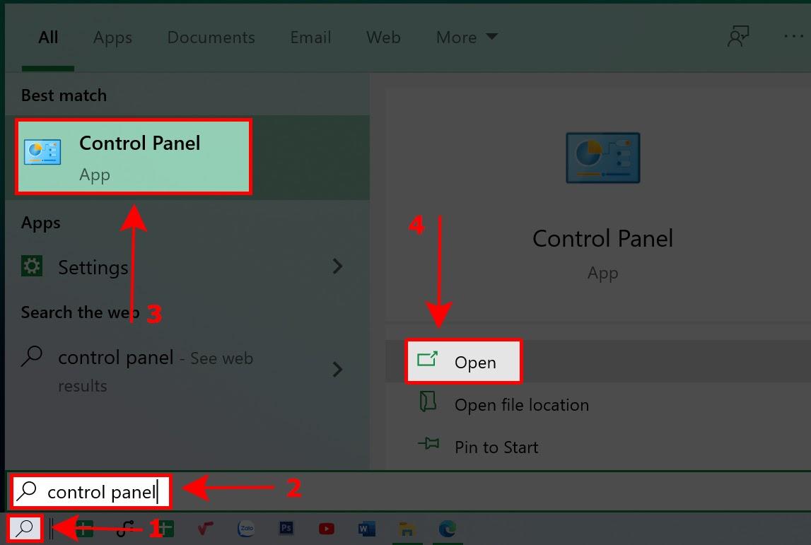 Truy cập vào Control Panel