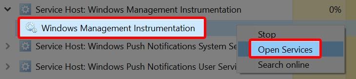 nhấn chuột phải vào Windows Management Instrumentation > Open Services