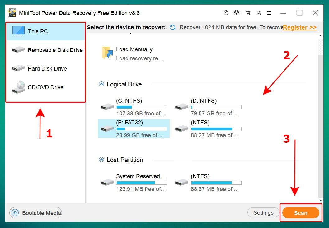 Chọn vị trí cần khôi phục dữ liệu > Nhấn Scan để bắt đầu