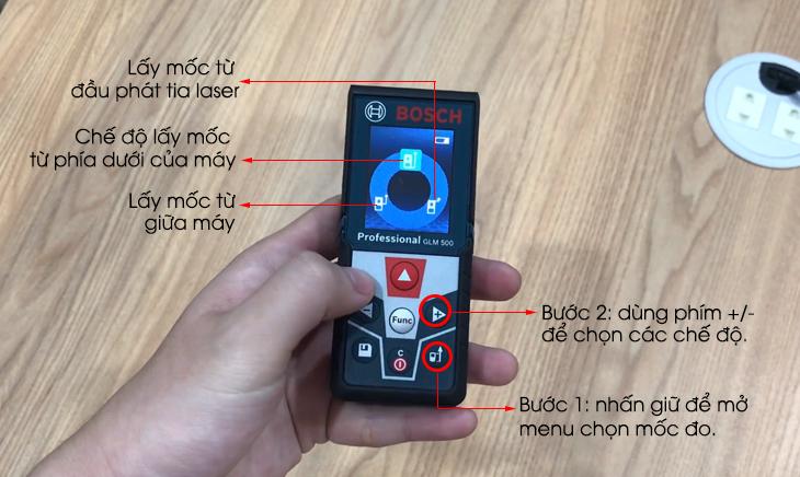 Máy đo khoảng cách laser Bosch GLM 500 - cách chọn mốc đo khoảng cách cho máy