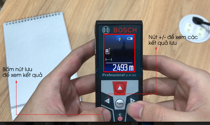 Máy đo khoảng cách laser Bosch GLM 500 - Cách xem kết quả lưu
