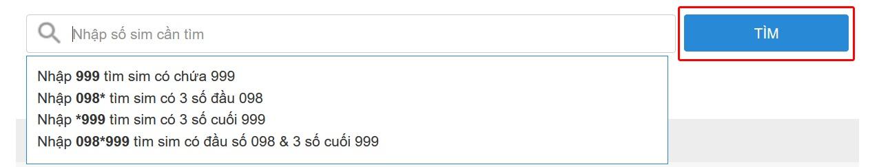 Tìm kiếm số SIM theo yêu cầu