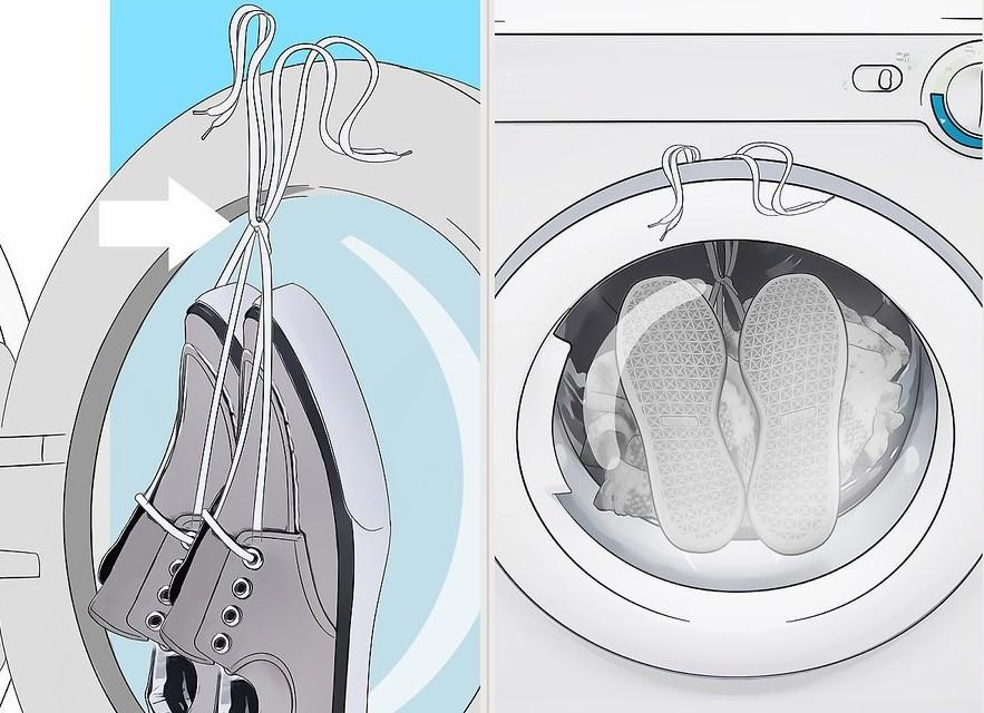 Kéo dây giày ra khỏi máy sấy và đóng chặt cửa máy