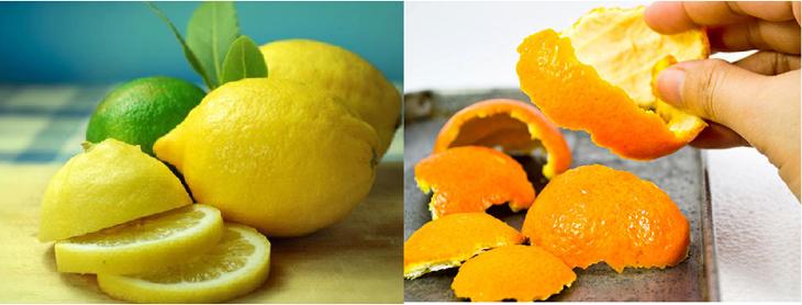 Vỏ cam và canh tươi khủ mùi tủ lạnh