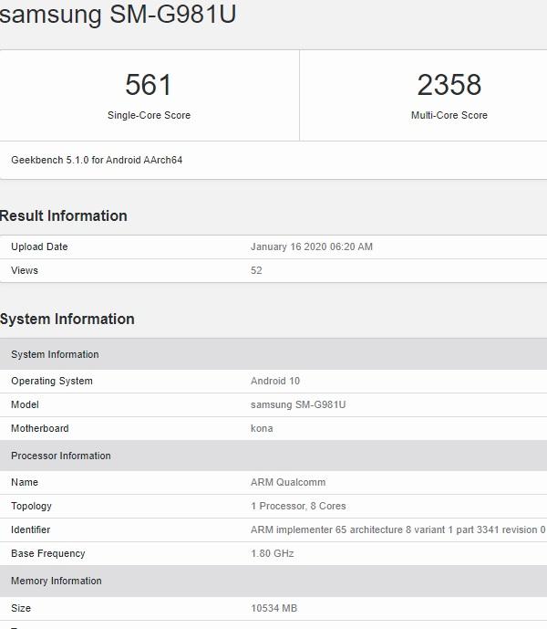 Samsung Galaxy S20 lộ cấu hình và điểm hiệu năng trên Geekbench