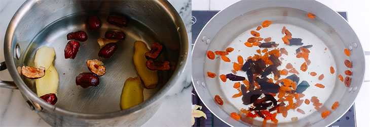 Bước 2 Đun các nguyên liệu Trà táo đỏ