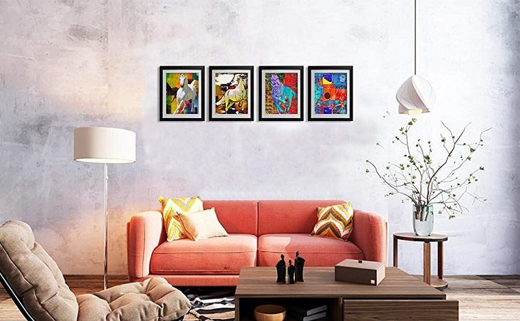 dùng máy cân bằng laser để treo ảnh hay bất kì loại tranh nào trên tường