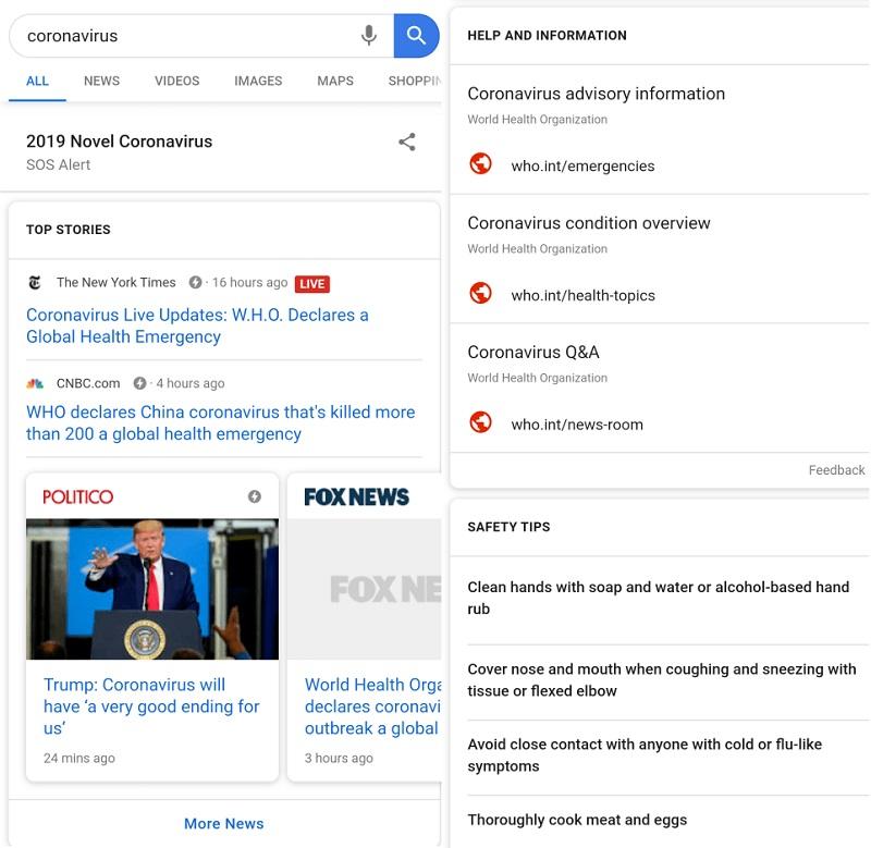 Google kích hoạt cảnh báo SOS với từ khóa coronavirus, giúp người dùng nhanh chóng cập nhật tin tức với độ tin cậy cao