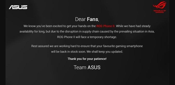 ASUS cho biết ROG Phone II chỉ tạm thời khan hàng
