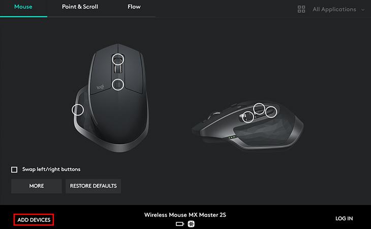 Giao diện ứng dụng Logitech Options - Chuột không dây Logitech MX Master 2S Đen