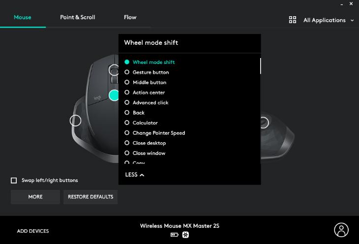 Tùy chỉnh được tính năng cho nút bật tắt cuộn nhanh - Chuột không dây Logitech MX Master 2S Đen