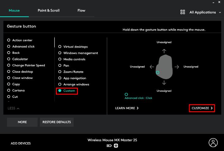 Tùy chỉnh tính năng cho nút Đa nhiệm/cử chỉ - Chuột không dây Logitech MX Master 2S Đen