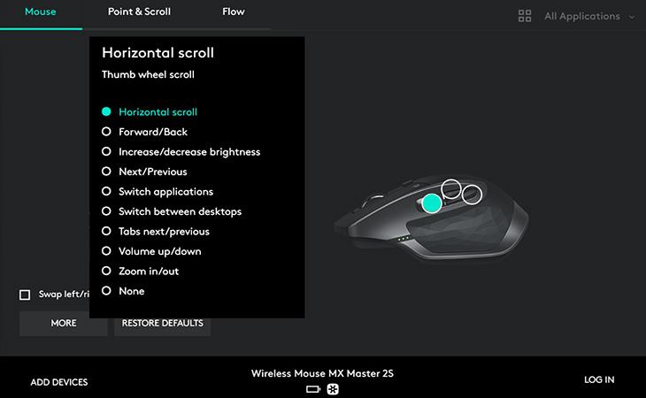 Tùy chỉnh tính năng cho nút cuộn ngang - Chuột không dây Logitech MX Master 2S Đen