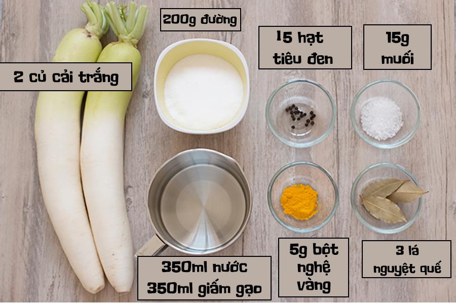 Nguyên liệu và dụng cụ để làm món củ cải vàng muối
