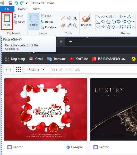 Mở phần mềm Paint và dán ảnh ra bằng tổ hợp phím Ctrl+V hoặc công cụ Paste