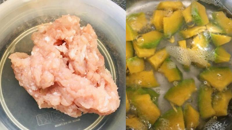 Chị Trang chia sẻ cách nấu cháo bí đỏ thịt bằm bổ dưỡng cho bé ăn dặm
