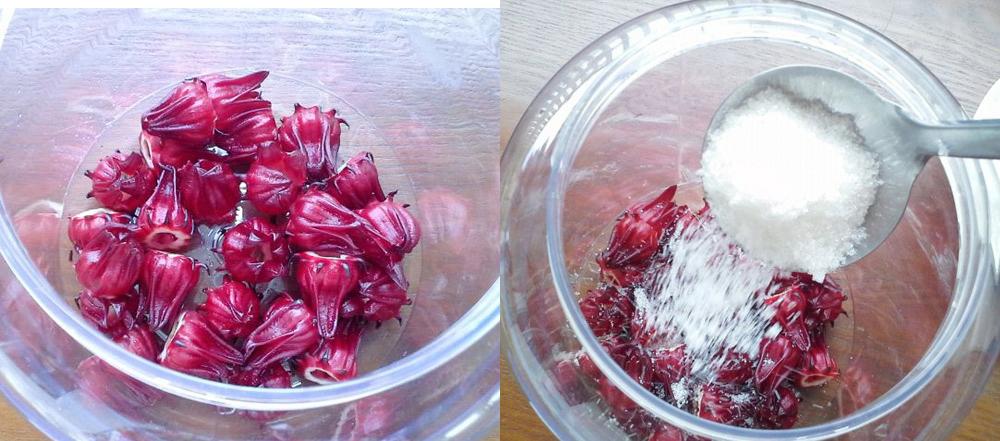 Ngâm hoa atiso đỏ với đường