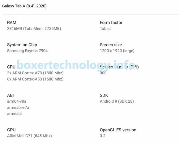 Galaxy Tab A 8.4 (2020) lộ thông số kỹ thuật trên Google Play Console, với cấu hình này bạn sẽ chọn mua?