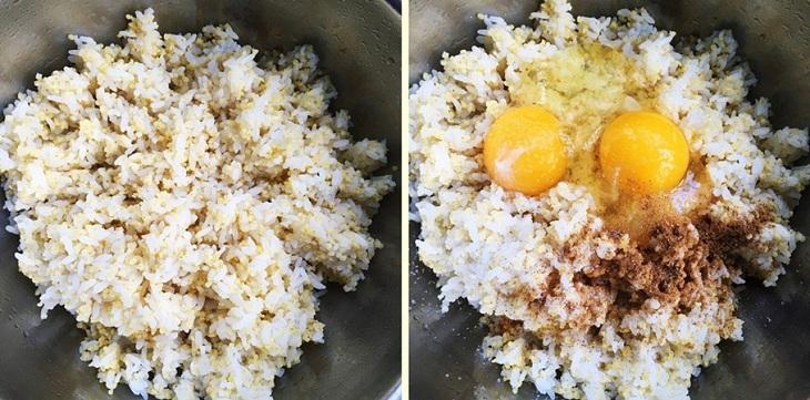 Cho cơm vào bát rồi cho trứng và gia vị trộn đều