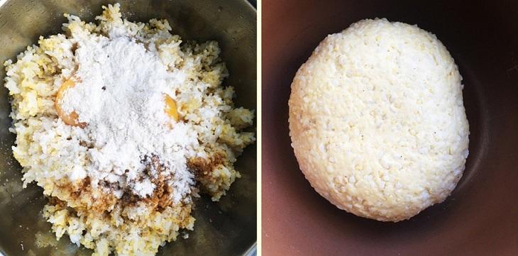 Cho thêm vào một ít bột mì để nhào cùng với cơm